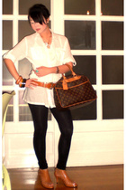 beige Louis Vuitton bag - beige strappy sandals Trunk Show shoes