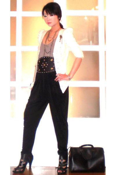 black Glitterati pants - black Topshop shoes - white random blazer