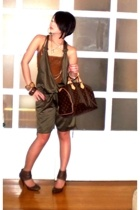 brown Louis Vuitton bag - brown shoeboots Zara shoes - brown Zara top