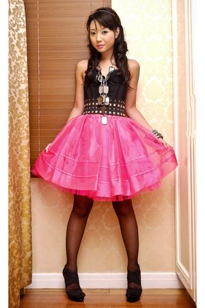 pink Glitterati skirt - black GLAM by Glitterati shoes - Glitterati intimate
