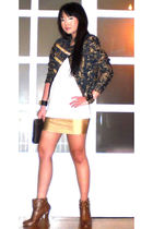 gold lame mini glasnost skirt - brown studded booties online shoes
