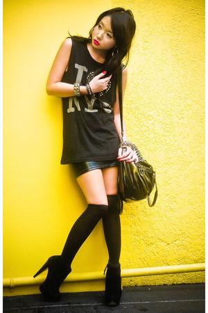 black Topshop top - black suede platform Topshop boots - black random bag