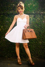 Camel-birkin-hermes-bag-white-eyelet-bustier-with-love-dress