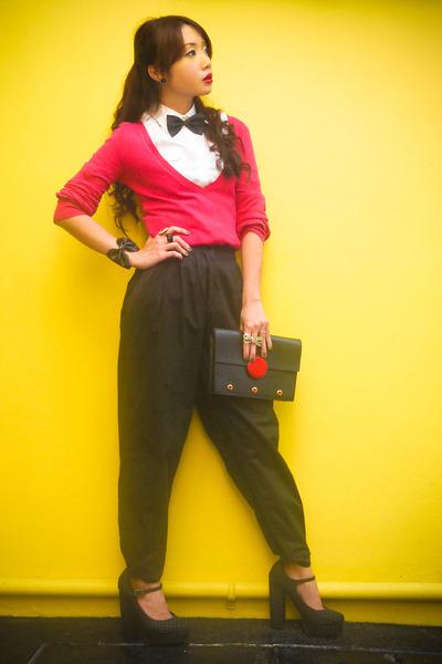hot pink sweater Zara sweater - black Louis Vuitton bag