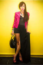 leather Tinsels jacket - leather Vintage Italian bag - strappy Prima Donna heels