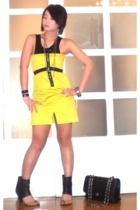black tank top Topshop top - black Monica Fig shoes - yellow Glitterati dress