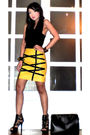 Yellow-glitterati-skirt-black-mens-section-department-store-top-black-online