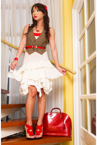 ivory Topshop dress - red Louis Vuitton bag - light brown Zara vest - red Vintag