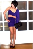 purple Tyler dress - purple Nine West shoes - black Chanel bag - bracelet