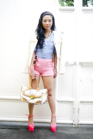 bubble gum Zara shorts - ivory Zara blazer - sky blue Mango shirt