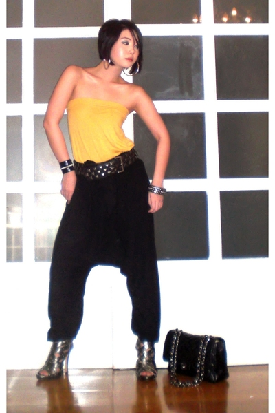 yellow tubetop Topshop top - silver ami clubwear shoes - black 255 Chanel bag