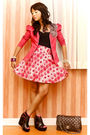 Pink-glitterati-blazer-white-glitterati-skirt-black-virtual-mae-shoes-blac