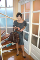 HK shirt - U2 skirt - Yves Saint Laurent purse - Anne Klein shoes