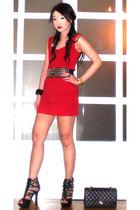 black Glitterati belt - black online shoes - red Details dress