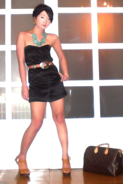 black Glitterati suit - beige platform heels Michael Kors shoes