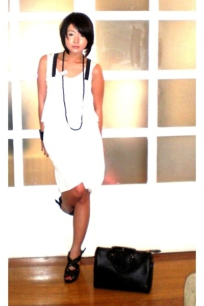 black leather cuff my brothers bracelet - black Zara shoes - white Tango dress