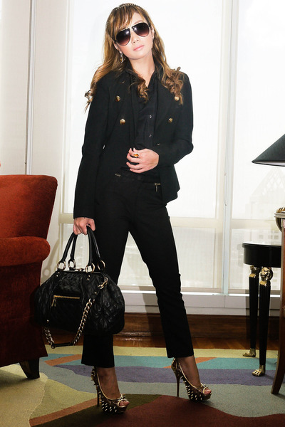 black Mango blazer - black Marc Jacobs bag - black Zara pants