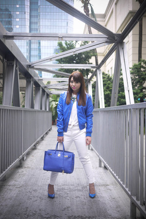 blue motorcycle Bershka jacket - blue birkin Hermes bag