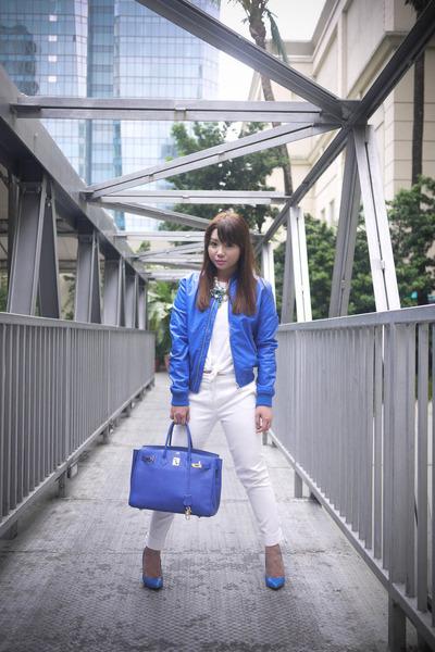 blue motorcycle Bershka jacket - blue birkin Hermes bag