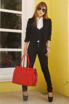 red Celine bag - black Zara pants - black Prada glasses