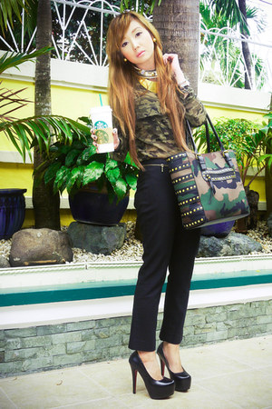 army green Zara blouse