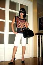 Zara Woman top - vintage belt - Louis Vuitton purse - Nine West shoes