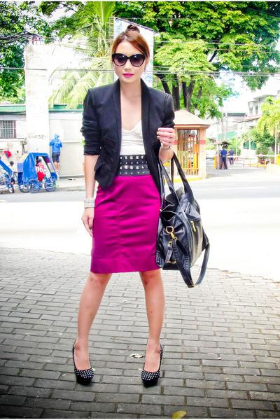 studded Glitterati belt - Zara blazer - oversized Celine bag
