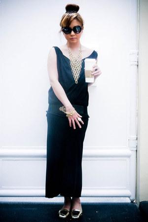 black Topshop dress - black Mizar shirt - gold Tutum flats