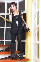 chain Zara boots - nightingale Givenchy bag - mesh netted Mango top