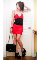 red zoo dress - black 255 Chanel bag - black studded random bracelet - black sue