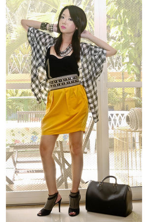 white Tango blouse - black Mango top - yellow random skirt - black Glitterati be