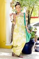 aquamarine Aldo bag - lime green leaf print maxi Moonshine dress