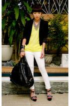 black blazer Zara blazer - white skinny jeans Zara jeans