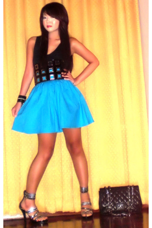Glitterati skirt - Topshop top - Cintura belt - amiclubwearcom shoes - Chanel pu