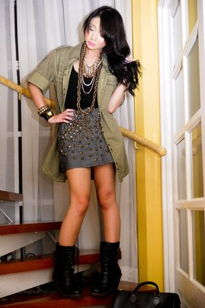 green Zara jacket - black laceup boots from Rockwell bazaar boots