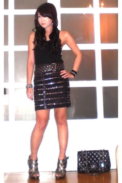 mens section top - Zara belt - Glitterati skirt - Trunk Show bracelet - Go Janec