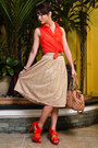 Neutral-floral-vintage-skirt-salmon-topshop-shirt-nude-stam-marc-jacobs-bag