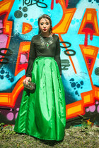 black Zara sweater - green Glitterati skirt