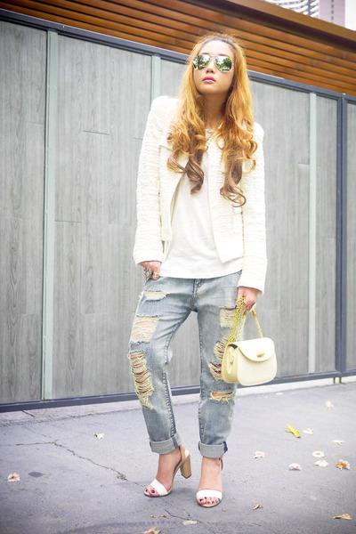 off white Zara blazer - cream Gucci bag
