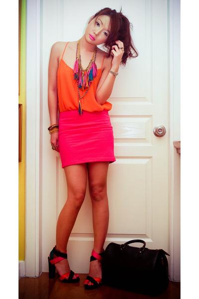 carrot orange Zara heels - black Louis Vuitton bag - orange Zara top