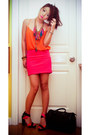 Black-louis-vuitton-bag-orange-zara-top-carrot-orange-zara-heels-hot-pink-
