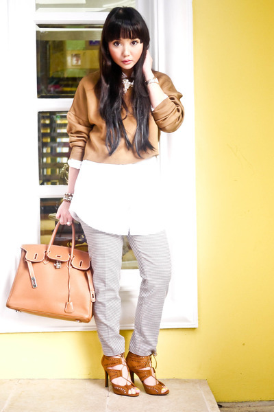 tawny Hermes bag - camel Zara sweater - light brown Zara pants