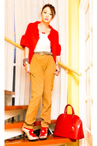 beige Zara shoes - red Zara blazer - dark brown Vintage Italian belt - burnt ora