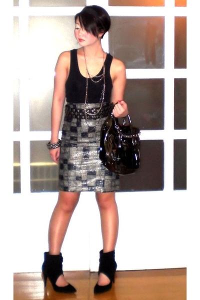 black tank top Topshop top - black Zara shoes - black bag