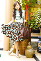 light brown vintage skirt - dark brown muse YSL bag - beige Bazaar belt