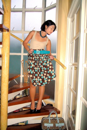 brown Rockwell Global Pinoy Bazaar skirt - brown patent pumps Zara shoes