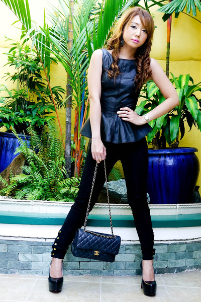 black leather peplum Zara top - black Zara pants