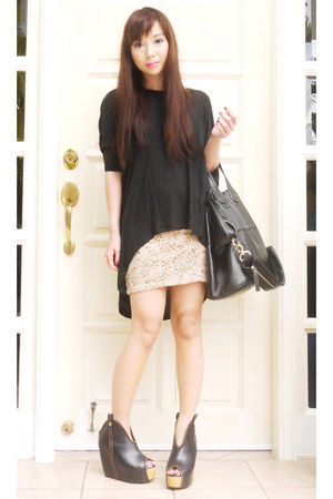 tan H&M skirt - black nightingale Givenchy bag