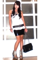 black Mango skirt - silver AmiClubWear shoes - black studded belt Zara belt