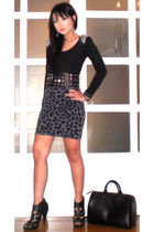 black Glitterati belt - black Topshop shoes - black Louis Vuitton purse